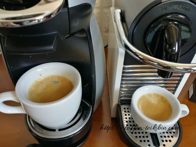 ネスプレッソで作ったエスプレッソとドルチェグストで作ったコーヒー